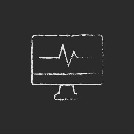 taking pulse: Heartbeat display in monitor hand drawn in chalk on a blackboard vector white icon on a black background