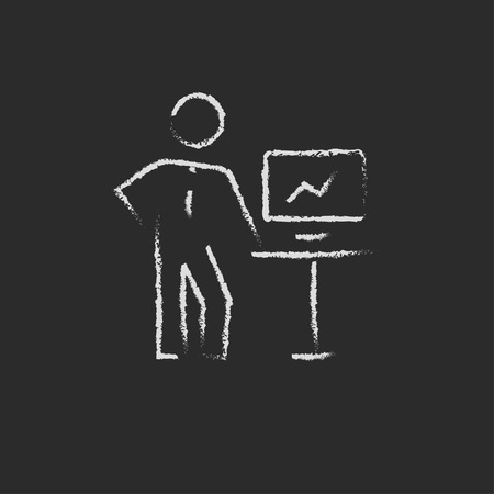 Business presentation hand drawn in chalk on a blackboard vector white icon on a black background 向量圖像