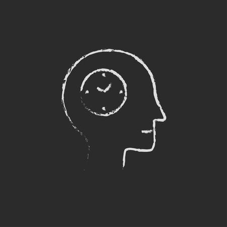 male symbol: Clock in head hand drawn in chalk on a blackboard vector white icon on a black background