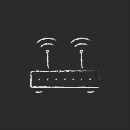 wireless icon: Wireless router hand drawn in chalk on a blackboard vector white icon on a black background