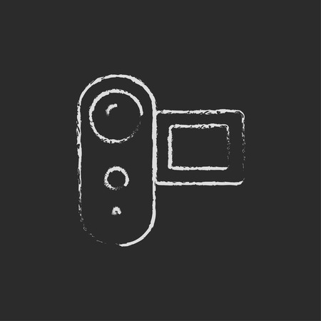 auto focus: Digital video can hand drawn in chalk on a blackboard vector white icon on a black background