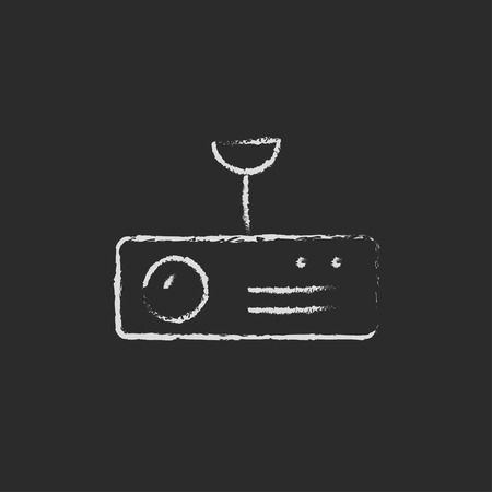 furniture hardware: Vintage radio with analog dials and antenna hand drawn in chalk on a blackboard vector white icon on a black background