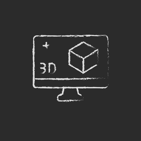 put the key: Computer monitor with 3d box hand drawn in chalk on a blackboard vector white icon on a black background Illustration