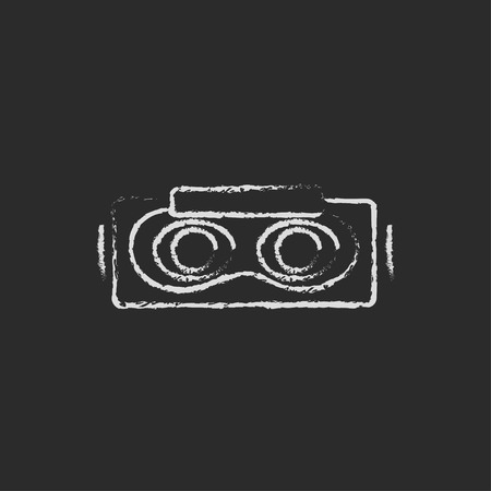 Virtual reality mask hand drawn in chalk on a blackboard vector white icon on a black background Stock Vector - 42362487