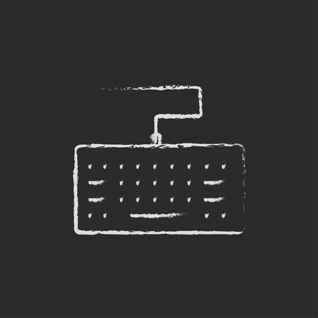put the key: Keyboard hand drawn in chalk on a blackboard vector white icon on a black background Illustration