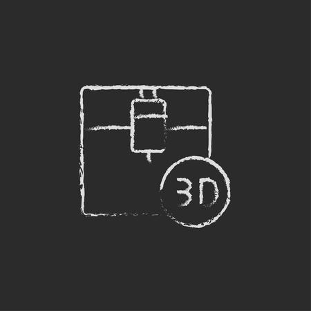 three d: Tre d macchina da stampa a mano disegnata con il gesso su una lavagna bianco icona di vettore su uno sfondo nero Vettoriali