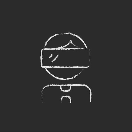 Young boy with VR headset hand drawn in chalk on a blackboard vector white icon on a black background
