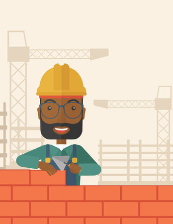etnic: A smiling black builder wearing a hard hat buiding a brick wall. A Contemporary style with pastel palette, soft beige tinted background. Vector flat design illustration. Square layout.