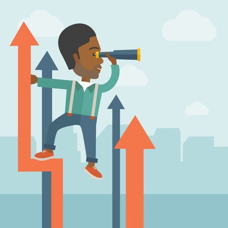 A successful african businessman stand on top of graph arrow using his telescope looking how high he is. Business success, self development concept. A Contemporary style with pastel palette, soft blue tinted background with desaturated clouds. Vector flat Illustration