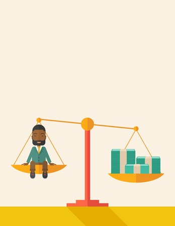 A happy smiling african young male sitting on a balance scale with a money bill. Comparison concept. A Contemporary style with pastel palette, soft beige tinted background. Vector flat design illustration. Vertical layout with text space on top part.