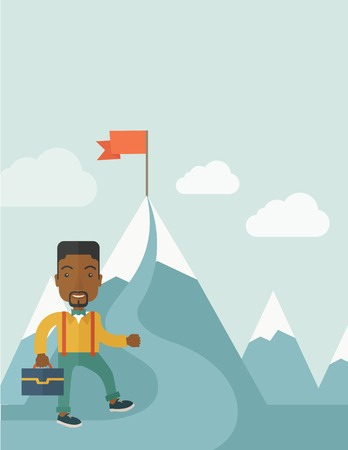 red flag up: An african businessman holding his bag will climb up to top of the mountain to achieve success by holding the red flag. Willingness, leadership concept. A Contemporary style with pastel palette, soft blue tinted background with desaturated clouds. Vector