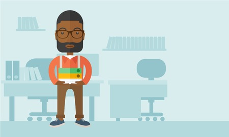 male symbol: A Black man standing while holding book files ready for his business presentation.  Planning concept. A Contemporary style with pastel palette, soft blue tinted background. Vector flat design illustration. Horizontal layout with text space in right side.