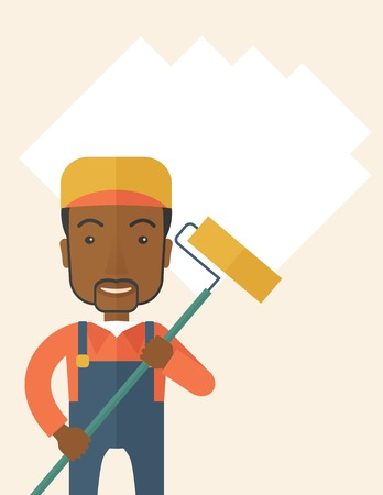 scraper: A young african glass cleaner wearing hat holding stick rubber scraper. A Contemporary style. Vector flat design illustration isolated white background. Vertical layout with text space on top part. Illustration