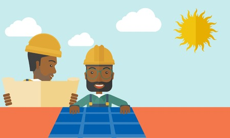 solar panel roof: An african man putting a solar panel on the roof as a alternative energy system. A Contemporary style with pastel palette, soft beige tinted background with desaturated cloud.  Vector flat design illustration. Horizontal layout.