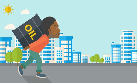 heavy: A black businessman walking while carrying a heavy barrel of oil for delivery. A Contemporary style with pastel palette, soft blue tinted background with desaturated clouds. Vector flat design illustration. Horizontal layout in right side. Illustration
