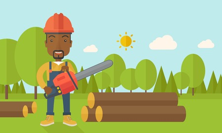 logging: A black Lumberjack with hard hat as protection cuts a tree by chainsaw under the heat of the sun. A Contemporary style with pastel palette, soft blue tinted background with desaturated clouds. Vector flat design illustration. Horizontal layout.