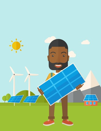 A happy african young man standing while holding a solar panel under the heat of the sun. A Contemporary style with pastel palette, soft blue tinted background with desaturated clouds. Vector flat design illustration. Vert6ical layout with text space on t