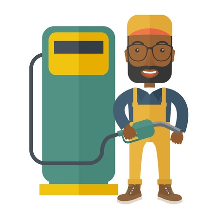 A happy black gasoline boy with gas pump. A Contemporary style. Vector flat design illustration isolated white background. Square layout