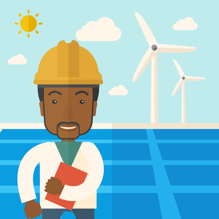 warmness: A black man wearing hardhat smiling under the heat of the sun with solar panels and windmills. A Contemporary style with pastel palette, soft blue tinted background with desaturated clouds. Vector flat design illustration. Square layout. Illustration