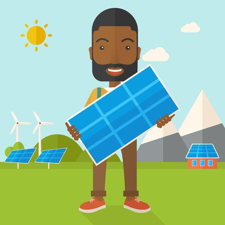 A happy african young man standing while holding a solar panel under the heat of the sun. A Contemporary style with pastel palette, soft blue tinted background with desaturated clouds. Vector flat design illustration. Square layout.