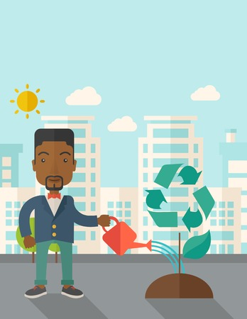 desaturated: A black man watering the green recycle tree to improve the ecology under the sun. A Contemporary style with pastel palette, soft blue tinted background with desaturated clouds. Vector flat design illustration. Vertical layout with text space on top part.