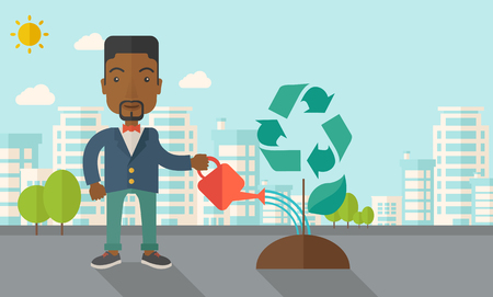A black man watering the green recycle tree to improve the ecology under the sun. A Contemporary style with pastel palette, soft blue tinted background with desaturated clouds. Vector flat design illustration. Horizontal layout.
