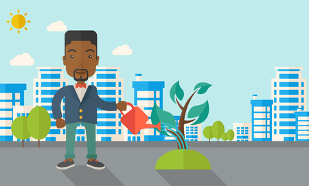 A black guy watering the growing plant as improving economy. A Contemporary style with pastel palette, soft blue tinted background with desaturated clouds. Vector flat design illustration. Horizontal layout.