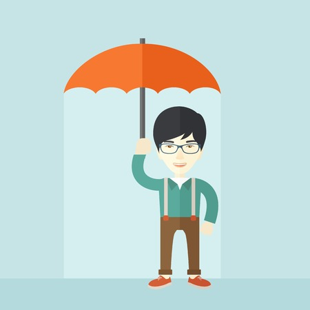 businessman shoes: A successful businessman standing with umbrella for his protection against sun and rain. A contemporary style with pastel palette soft blue tinted background. Vector flat design illustration. Square layout.