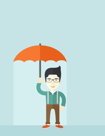 happy employees: A successful businessman standing with umbrella for his protection against sun and rain. A contemporary style with pastel palette soft blue tinted background. Vector flat design illustration. Vertical layout with text space on top part. Illustration