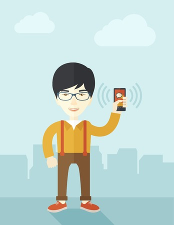vibrating: A japanese office worker holding his smartphone vibrating. A contemporary style with pastel palette soft blue tinted background with desaturated clouds. Vector flat design illustration. Vertical layout.