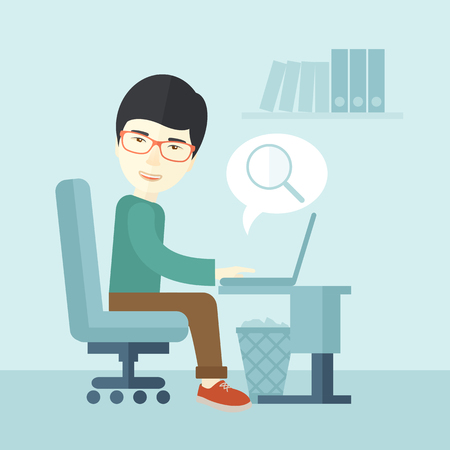 A chinese man sitting infront of the computer with magnifying glass looking for a job online. A contemporary style with pastel palette soft blue tinted background. Vector flat design illustration. Square layout.