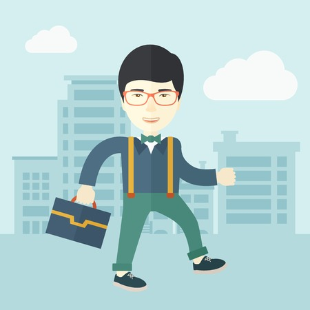 A Young chinese businessman walking through the city streets to attend a business meeting carrying a briefcase. A contemporary style with pastel palette soft blue tinted background with desaturated clouds. Vector flat design illustration. Square layout.