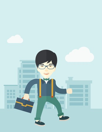 A Young chinese businessman walking through the city streets to attend a business meeting carrying a briefcase. A contemporary style with pastel palette soft blue tinted background with desaturated clouds. Vector flat design illustration. Vertical layout