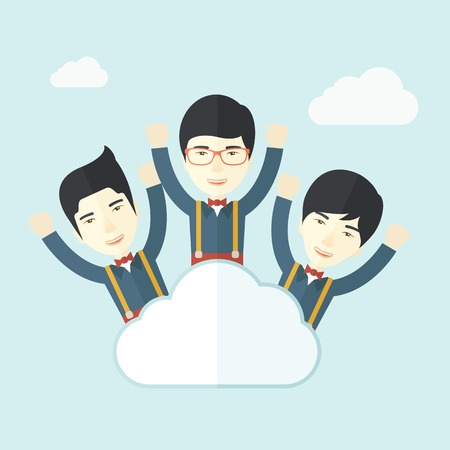 Three businessmen on top of the cloud raising their arms shows that they are happy for their success in business. A contemporary style with pastel palette soft blue tinted background with desaturated clouds. Vector flat design illustration. Square layout. Ilustração