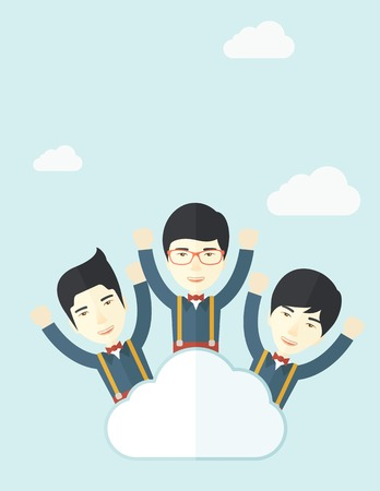 Three businessmen on top of the cloud raising their arms shows that they are happy for their success in business. A contemporary style with pastel palette soft blue tinted background with desaturated clouds. Vector flat design illustration. Vertical layou