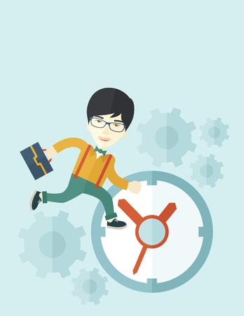 Eine japanische Arbeitskraft mit Aktentasche ist spät, um mit einem Uhr-Symbol zu arbeiten. Einem zeitgenössischen Stil mit Pastellpalette weichen blauen getönten Hintergrund. Vector flachen Design, Illustration. Vertical-Layout mit Text-Raum am Oberteil. Standard-Bild - 42641826