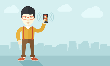 communication cartoon: A japanese office worker holding his smartphone vibrating. A contemporary style with pastel palette soft blue tinted background with desaturated clouds. Vector flat design illustration. Horizontal layout.