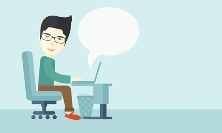 side job: A chinese man sitting infront of the computer with magnifying glass looking for a job online. A contemporary style with pastel palette soft blue tinted background. Vector flat design illustration. Horizontal layout with text space in right side.