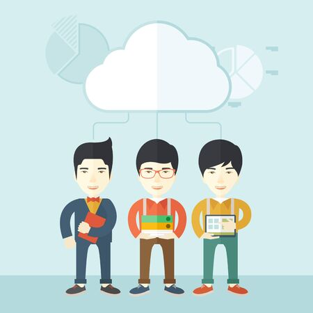 Three asian men standing under the cloud holding book files, notebook and tablet ready for their business presentation. A contemporary style with pastel palette soft blue tinted background with desaturated clouds. Vector flat design illustration. Square l