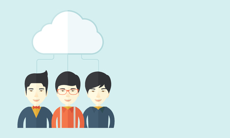 japanese background: A happy successful Business people group standing under the cloud. A contemporary style with pastel palette soft blue tinted background with desaturateds clouds. Vector flat design illustration. Horizontal layout with text space in right side. Illustration