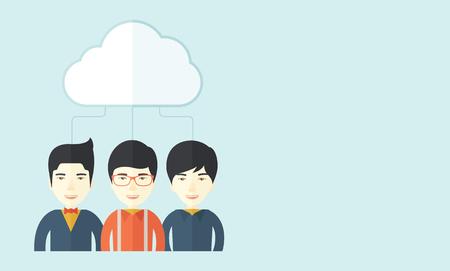 fond de texte: Un succès groupe de gens d'affaires heureux debout sous le nuage. Un style contemporain avec le pastel palette douce fond teinté bleu avec desaturateds nuages. Vector design plat illustration. Disposition horizontale avec un espace de texte dans le côté droit.