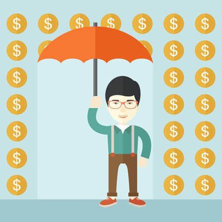 dollar sign icon: A chinese happy Businessman with umbrella under a rain of dollar coin. A contemporary style with pastel palette soft blue tinted background. Vector flat design illustration. Square layout. Illustration