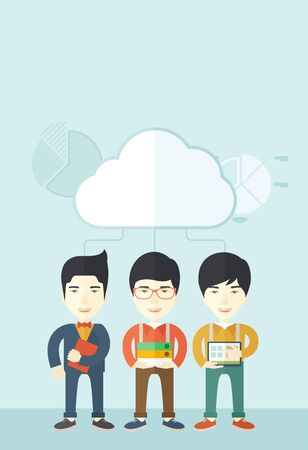 asian business: Three asian men standing under the cloud holding book files, notebook and tablet ready for their business presentation. A contemporary style with pastel palette soft blue tinted background with desaturated clouds. Vector flat design illustration. Vertical