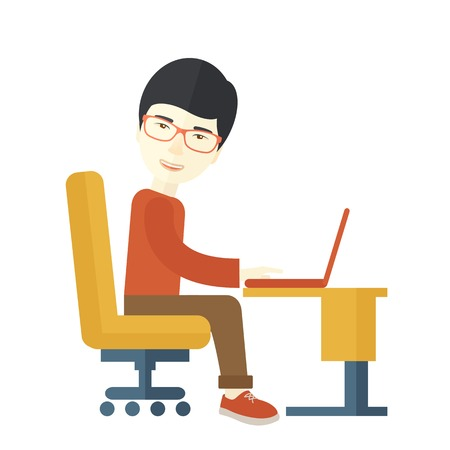 asian man laptop: A japanese guy sitting infront of the computer looking for a job online. A Contemporary style. Vector flat design illustration isolated white background. Square layout