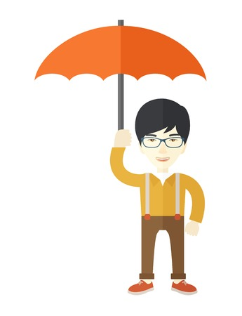 businessman shoes: A successful businessman standing with umbrella for his protection against sun and rain. A Contemporary style. Vector flat design illustration isolated white background. Vertical layout.