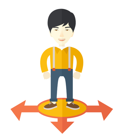 beginnings: A chinese businessman standing on three ways arrows for selection. Business concept. A Contemporary style. Vector flat design illustration isolated white background. Square layout