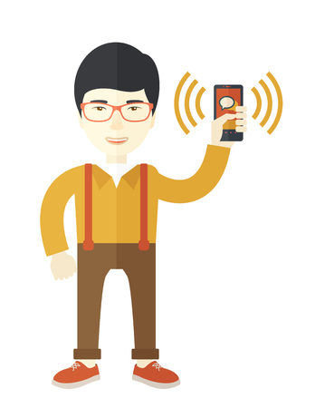vibrating: An office worker holding his smartphone vibrating.  A Contemporary style. Vector flat design illustration isolated white background. Vertical layout.