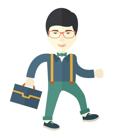 asian businessman: A Young asian businessman walking to attend a business meeting carrying a briefcase. A Contemporary style. Vector flat design illustration isolated white background. Square layout