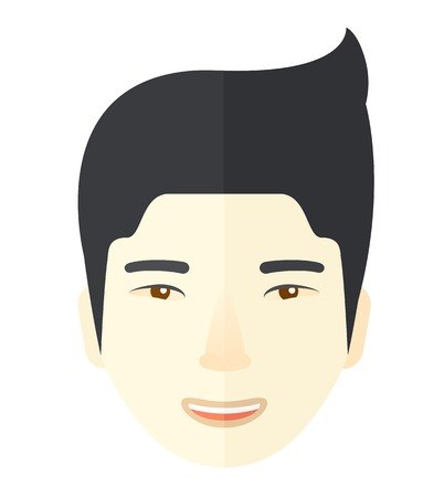 A face of a happy and good looking chinese guy with his hairstyle. A Contemporary style. Vector flat design illustration isolated white background. Square layout Illustration