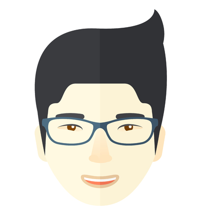 A young professional asian face wearing eyeglasses. A Contemporary style. Vector flat design illustration isolated white background. Square layout Çizim
